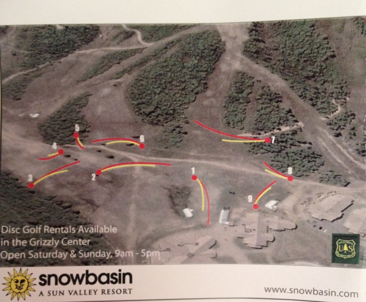 Map of Snow Basin Disc Golf Course